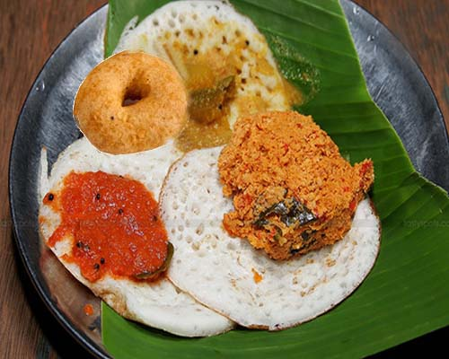 Tattu Dosa with Vada, Sambar and Chammanthi