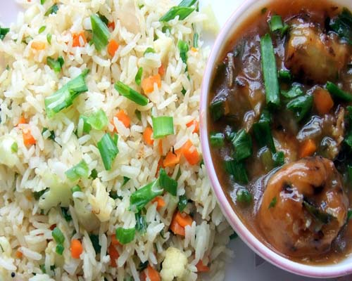 Veg Fried Rice with Chilly Gopi