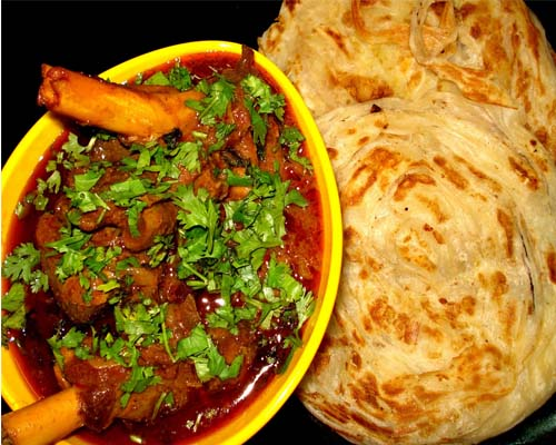 Handmade Kerala Porotta with Mutton Curry