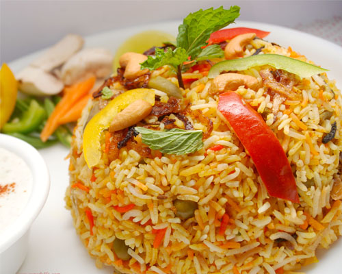 Veg Biriyani with Salad & Pickle